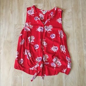 lucky brand tie front blouse • red floral print 1X
